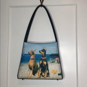 Dogs Day At The Beach Black Strap Purse